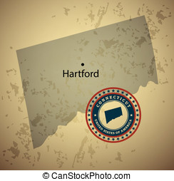 Connecticut map with stamp vintage vector background