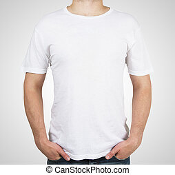 man in white t-shirt standing on a white background