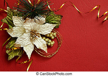 Red background with pionsettia and golden streamer in a...