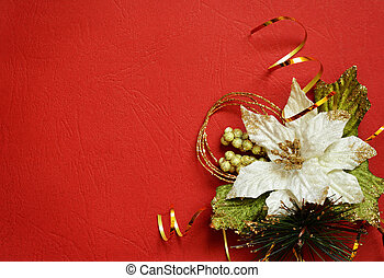 Red background with white pionsettia in a corner - Red...
