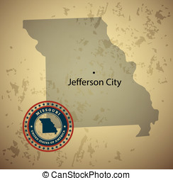 Missouri map with stamp vintage vector background