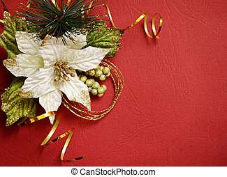 Red background with pionsettia - White pionsettia and golden...