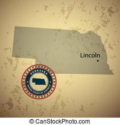 Nebraska map with stamp vintage vector background