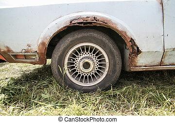 viejo, coche, oxidación, cuerpo