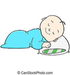 Baby sleeping - Cartoon illustration showing a baby sleeping...