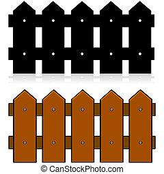 Picket fence - Cartoon illustration of a picket fence, in...