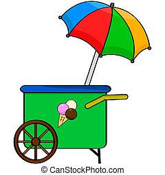 Ice cream cart - Cartoon illustration showing an ice cream...