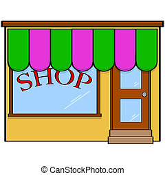 Store front - Cartoon illustration showing a simple, classic...