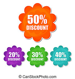 20, 30, 40, 50 percentages spring discount banners - text in...