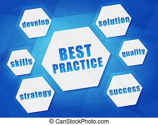 best practice and business concept words in hexagons over...