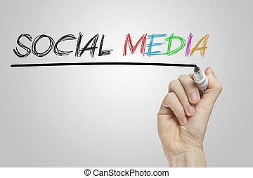 Social media written on a transparent wipe board