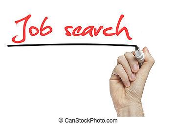 工作, 手, 搜尋, 寫