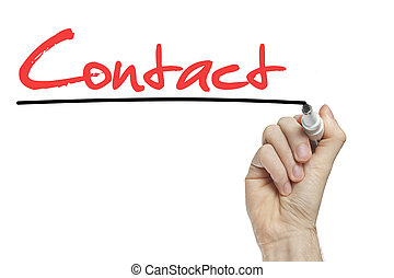 Hand writing contact on a white board