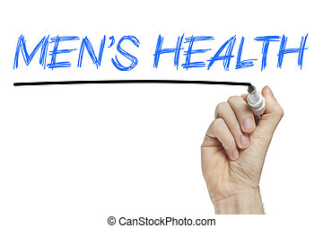 Mens health list concept - Hand writing mens health on a...