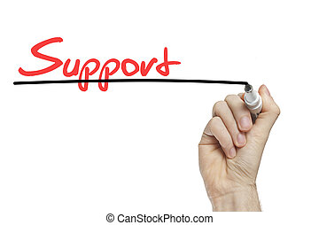 Customer support concept - Hand writing support on a white...
