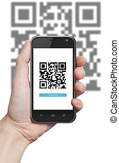 QR code scanning application - hand holding a phone with qr...