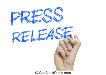 Press release news concept - Hand writing press release on a...