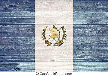 guatemala, bandera, pintado, viejo, madera, tablón,...