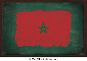 Morocco flag painted with chalk on blackboard