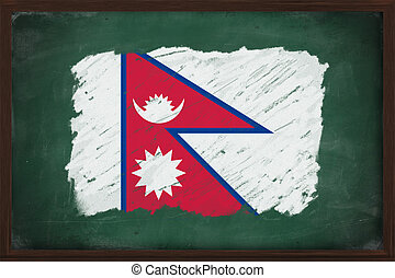 Nepal flag painted with chalk on blackboard