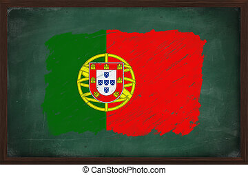 Portugal flag painted with chalk on blackboard