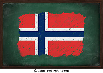 Norway flag painted with chalk on blackboard