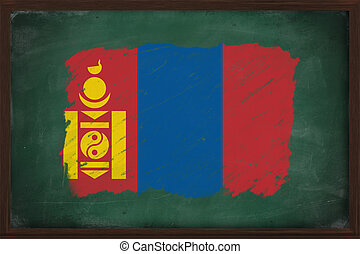Mongolia flag painted with chalk on blackboard