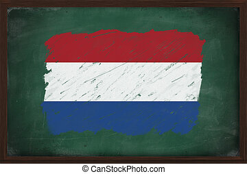 Netherlands flag painted with chalk on blackboard