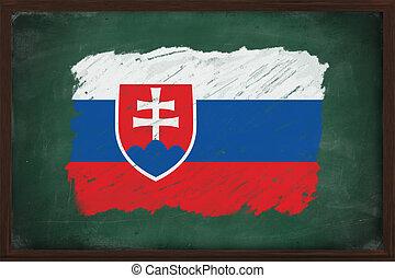 Slovakia flag painted with chalk on blackboard