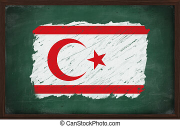Turkish Republic of Northern Cyprus flag painted with color...