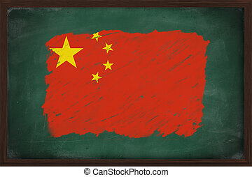 People's Republic of China flag painted with color chalk on old blackboard