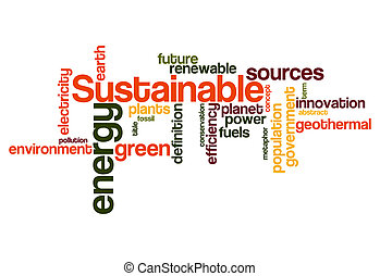 sustainable green energy concept word cloud background on...