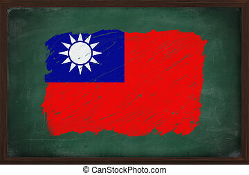 Republic of China flag painted with chalk on blackboard
