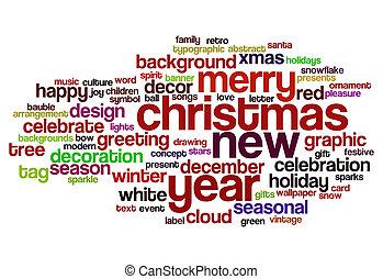 nuevo, palabra, navidad, nube, año