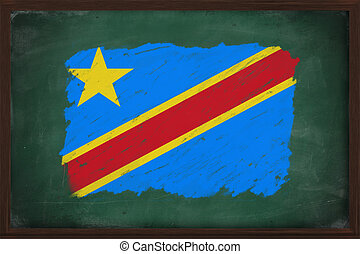 Democratic republic of the Congo flag painted with color chalk on old blackboard