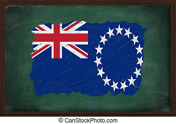 The Cook Islands flag painted with chalk on blackboard - The...