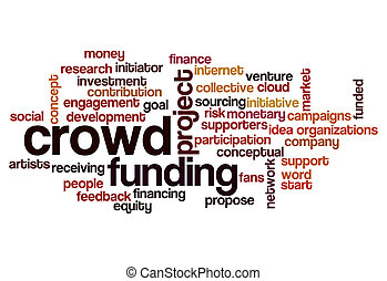 crowd funding word cloud concept for social media