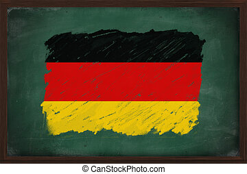 Germany flag painted with chalk on blackboard