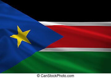 South Sudan flag blowing in the wind. Background texture.