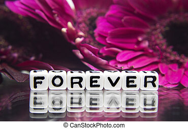 Forever text message with pink flowers