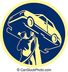 Auto Mechanic Automobile Car Repair Retro - Illustration of...