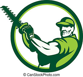 Tree Surgeon Holding Hedge Trimmer Retro - Illustration of a...