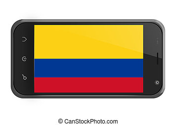 Colombia flag on smartphone screen isolated on white