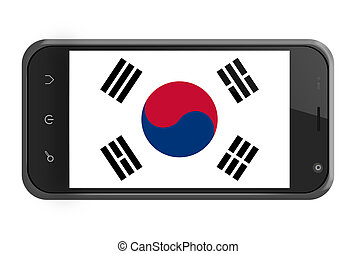 South Korea flag on smartphone screen isolated on white