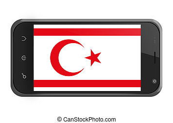 Turkish Republic of Northern Cyprus flag on smartphone...