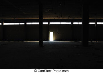 dark interior in abandoned factory - Dark interior in...
