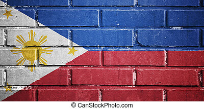 Philippines flag on brick wall - Philippines flag on texture...