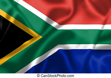 South Africa flag blowing in the wind Background texture