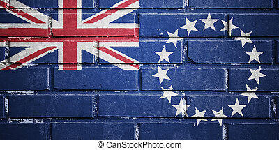 Cook islands flag on brick wall - Cook islands flag on...