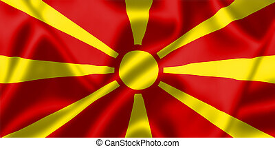 Macedonia flag blowing in the wind. Background texture.